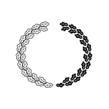 oak wreath: Oak wreath black vector isolated on a white background