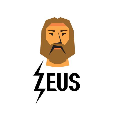 greek god: Zeus head logo with type Illustration