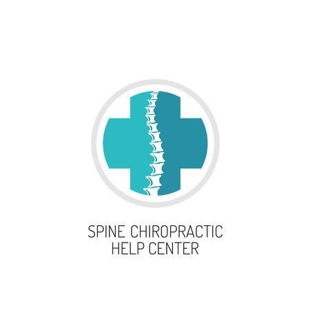 spine pain: Spine quiropr�ctica, diagn�stico y ayudar a centro plantilla de logotipo