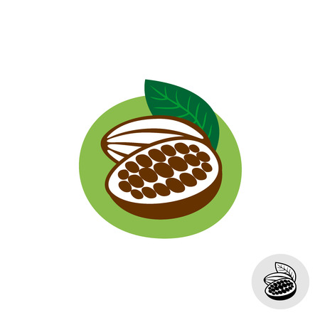 pods: Cocoa pod with beans vector badge symbol