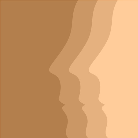skin tones: Beige vector background with human face profiles