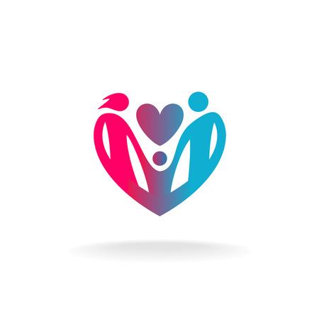 Familia clásica de tres personas en un logotipo en forma de corazón