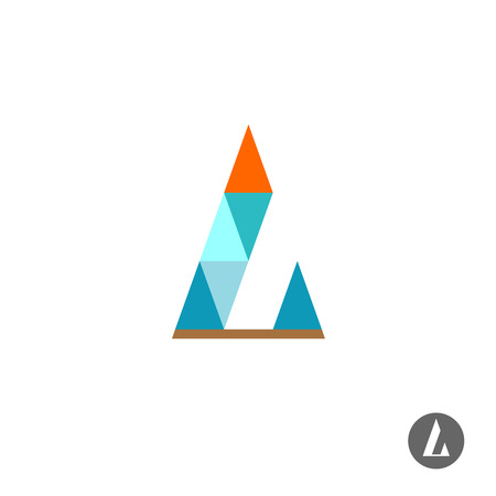 turquiose: Letter L logo template. Triangles style.