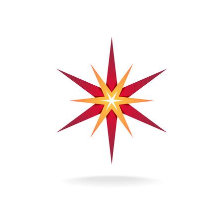 sign orange: Star burst decoration sign. Six rays red and orange thin stars.