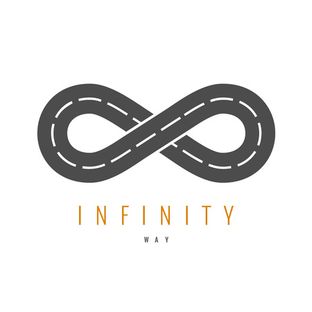 infinity sign: Infinity road logo. Loop way symbol.