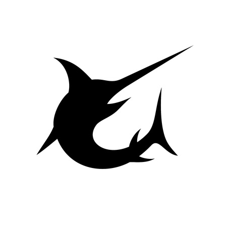 Swordfish isolated vector black silhouette Vectores