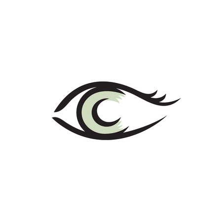 round eyes: Human eye logo. Smooth lines style. Illustration