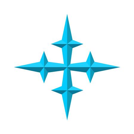 3d star: Four rays pseudo 3D star