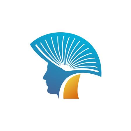 モホーク族の人のロゴのテンプレートとして開いた本を持つ男の頭