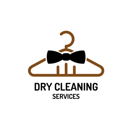 clean background: Dry cleaning service logo template. Hanger with bow tie concept.