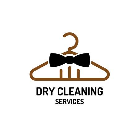 personal de limpieza: Servicio de limpieza en seco plantilla de logotipo. Percha con pajarita concepto. Vectores