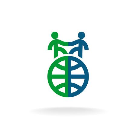 Idiomas extranjeros logo de la escuela de la plantilla. Dos personas apretón de manos sobre las siluetas globo terrestre. Logos