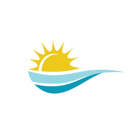 Sun with sea surface logo template Çizim