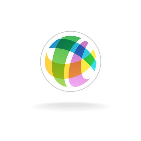 logo voyage: Résumé coloré rond sphère logo modèle