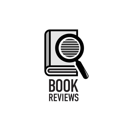 book logo: Book reviews service logo template. Search inside the dictionary.