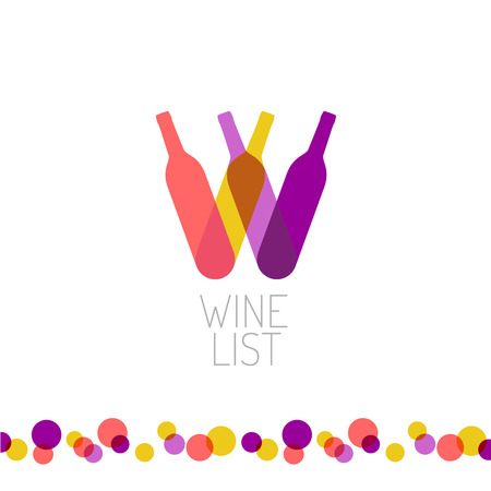 fond restaurant: Carte des vins Restaurant titre du menu de logo de style transparent. Lettre W symbole des bouteilles. Illustration