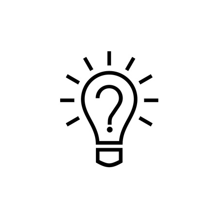light bulb: Light bulb lamp icon with question mark inside. Hint symbol.