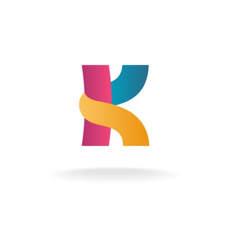 Letter K logo template. Colorful ribbons sign. Иллюстрация