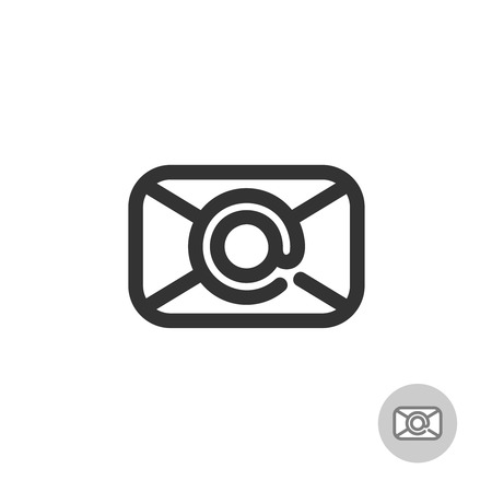 centered: Simple mail icon with at symbol as a centered stamp