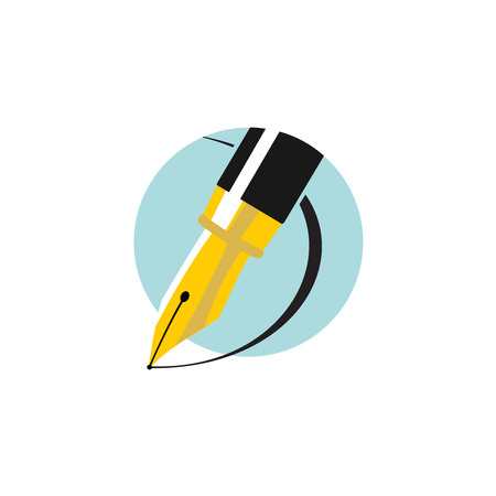 pens: Illustration of an ink pen. Flat colors logo.