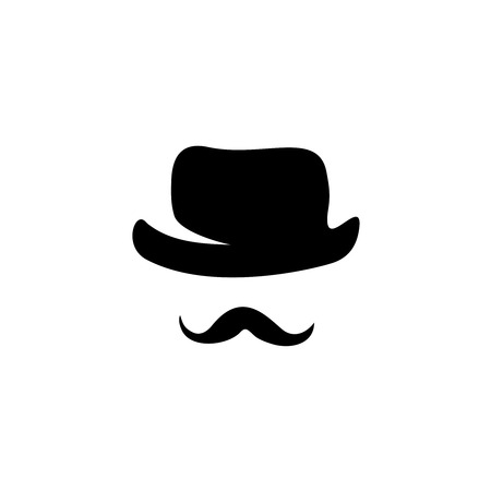 hombre con sombrero: Siluetas retro sombrero y bigote