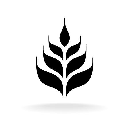 Wheat icon. Simple black logo silhouette.