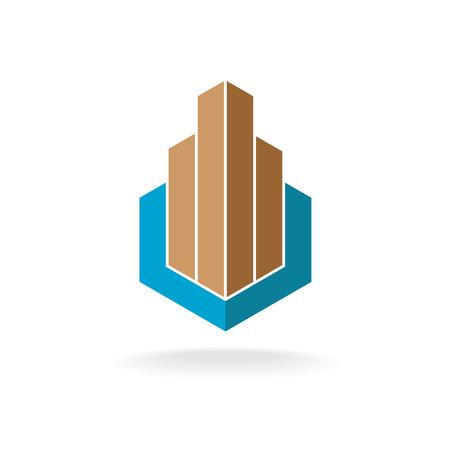 logotipo de construccion: La construcción o inmobiliario logotipo de la plantilla. Rascacielos en un marco hexagonal.