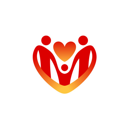 child care: Child care logo template. Shape of the heart silhouette.