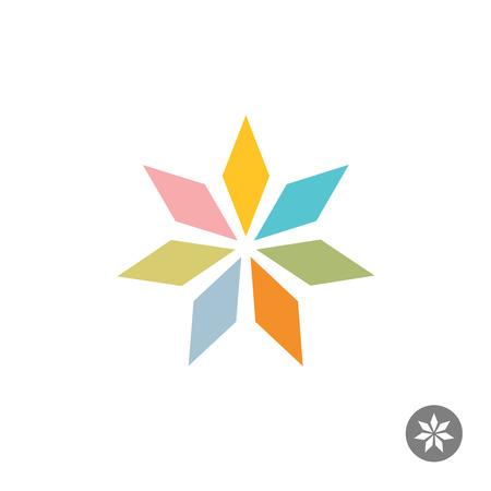 rhombus: Abstract geometric seven rhombus leaf flower logo template. Pastel colors. Illustration