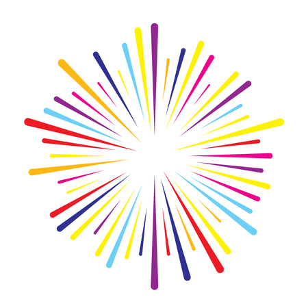 Colorful vector splash firework burst lines