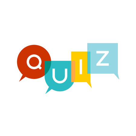 Quiz letters sign with speech bubbles. Colorful transparent flat style title . Transparency are flattened. Vettoriali