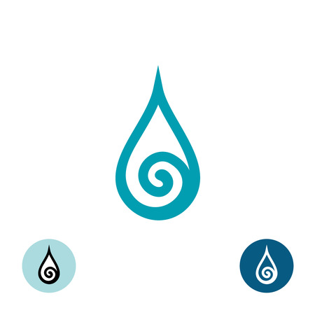 water wave: Water drop with spiral symbol Illustration