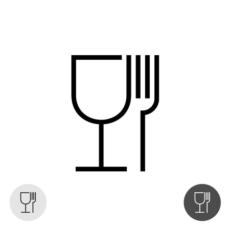 Fork and glass simple black sign. Symbol for use in package layout design. Çizim