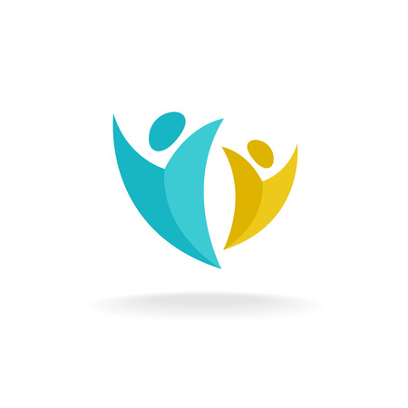 People rise logo. Two abstract happy human figures with hands up symbol.