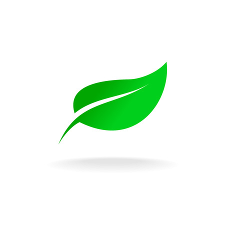 Simple elegant single green leaf vector logo