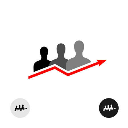black people: People black silhouettes with grow trend arrow graph logo with variations