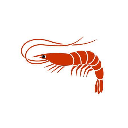 Shrimp silhouette . Simple vector one flat color sign.