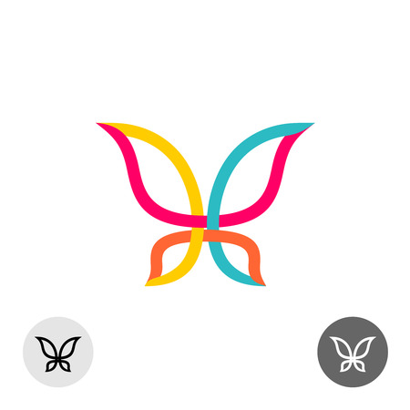 mariposa: Mariposa líneas de colores silueta Vectores