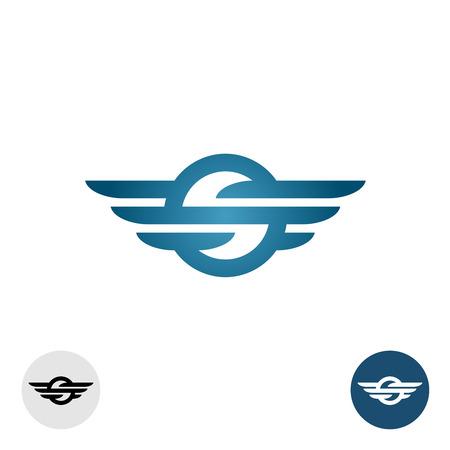 silhouette voiture: Lettre S avec des lignes et des ailes rondes