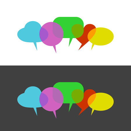 opinions: Transparent color speak bubbles. People opinions and reviews illustration. Transparency are flattened. Can be apply at any color background.