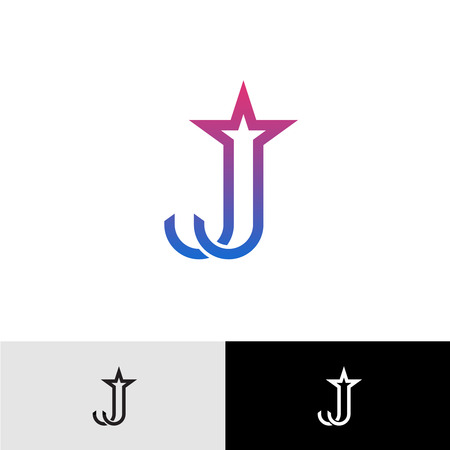 star background: Letter J linear logo with star shape at top. Shooting star firework tail. Illustration