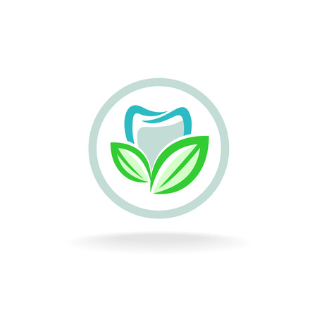 dent: Tooth logo. Fresh dent with green leaves symbol. Illustration