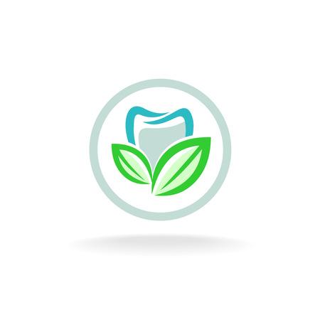 dent: Tooth logo. Fresh dent with green leaves symbol. Illustration