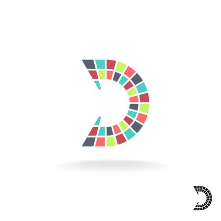Letter D logo template. Colorful flat mosaic tiles style.