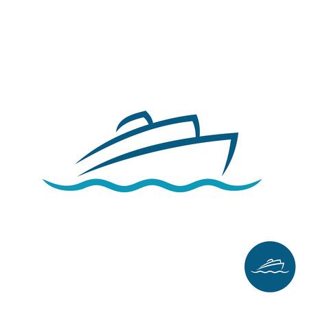 chaloupe: Océan paquebot de croisière navire silhouette simple logo linéaire