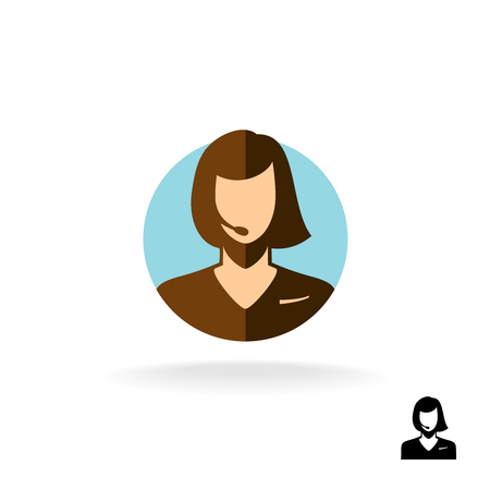 handsfree: Call center woman operator logo silhouette. Flat style.