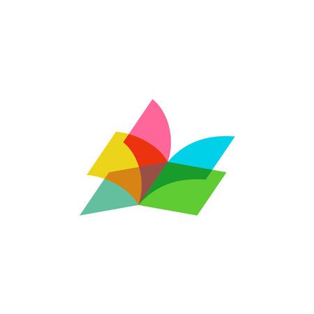 educação: Logotipo folhas de cor transparente livro aberto