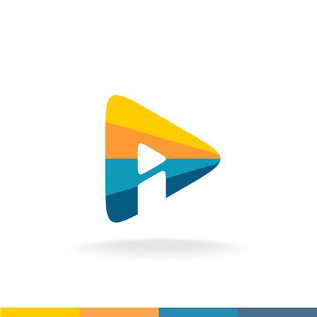 Kleurrijke driehoek speelknop met brief I binnen vormende letter Een vorm. Monogram van A en I brieven. Stock Illustratie