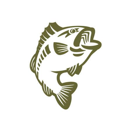Bass fishing vector outline logo Illustration