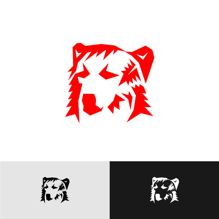 schematically: Bear head logo. Corner angular style silhouette.